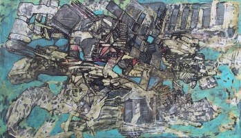 """ atteone ferroso "" -2006, cm 125x222, mixed media on wood"